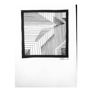 "Modern Original Pen & Ink Drawing, ""Lines & Shapes I I I"" by Christy Almond For Sale"