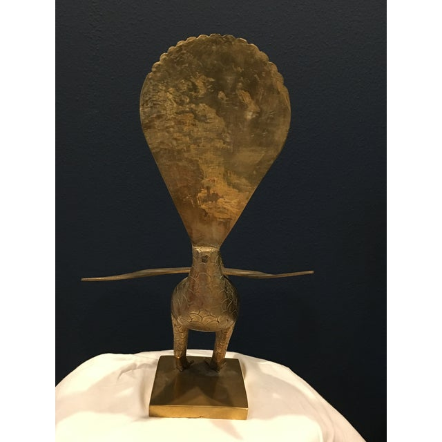 Mid-Century Solid Brass Peacock For Sale - Image 4 of 8