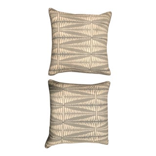 Gray & Neutral Fern Pillows - A Pair