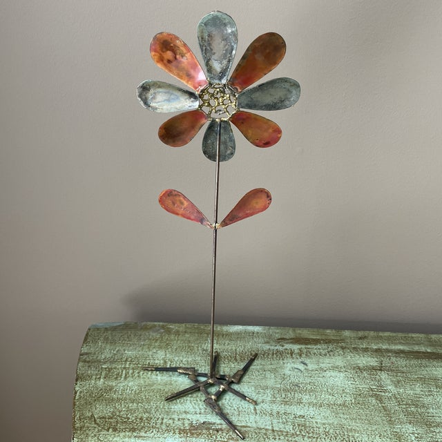 Mid 20th Century Mid 20th Century Metal Flower Sculpture For Sale - Image 5 of 6