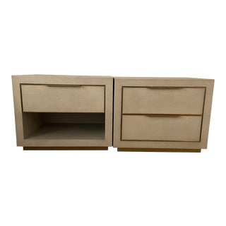 Restoration Hardware Cela Shagreen Nightstand Pair For Sale
