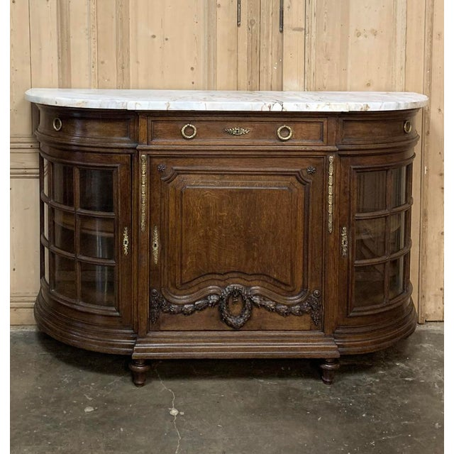 19th Century French Louis XVI Marble Top Display Buffet For Sale - Image 4 of 12