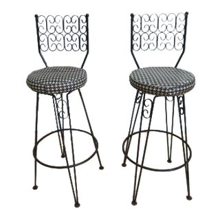 Vintage French Regency Scroll Iron Swivel Counter Stools - a Pair