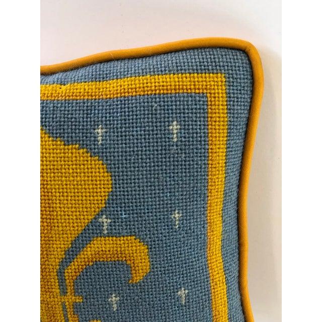 Mid 20th Century Vintage Fleur-De-Lis Petite Needlepoint Pillow For Sale - Image 5 of 10