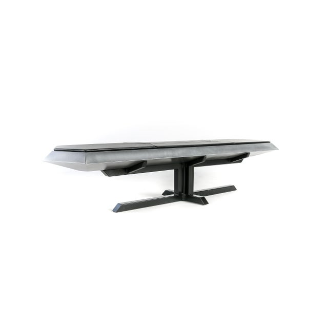 2010s Contemporary Topher Gent Bench No. 10 Steel Leather Cantilever Bench For Sale - Image 5 of 9
