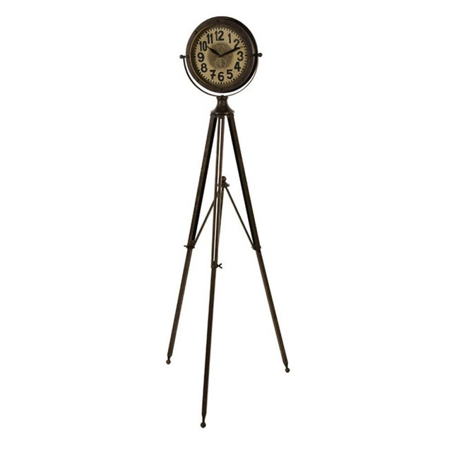 Cottage Industrial Tripod Clock For Sale - Image 3 of 4