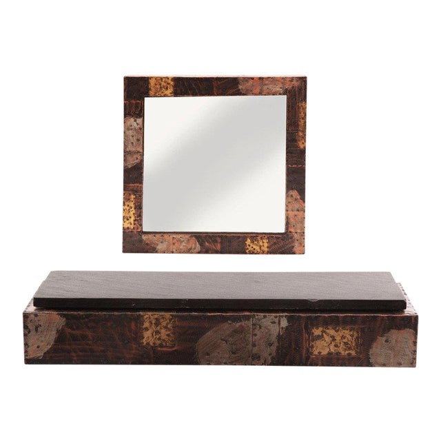 Custom Paul Evans Wall Shelf and Mirror For Sale