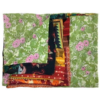 Bountiful Blossoms Rug & Relic Kantha Quilt