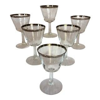 French Crystal Platinum Rim Cocktail Glasses - Set of 6 For Sale