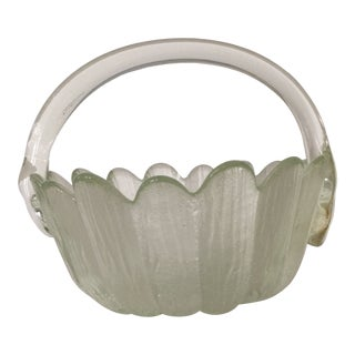 Vintage 1980s Hand Blown Glass Basket With Applied Handle Scalloped Rim For Sale