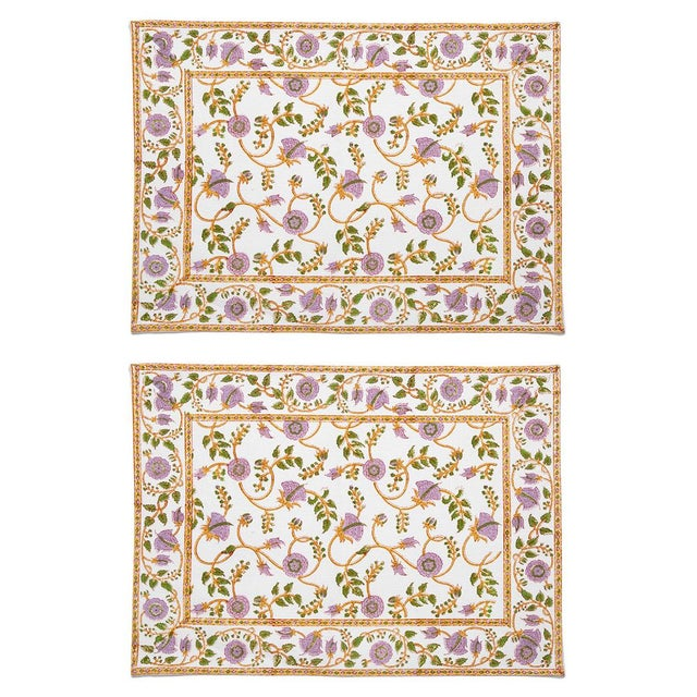Gina Placemats Lilac & Green - A Pair For Sale - Image 4 of 4