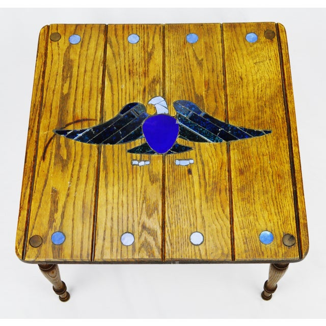 Mosaic Eagle Inlay Wood Accent Table - Image 2 of 9