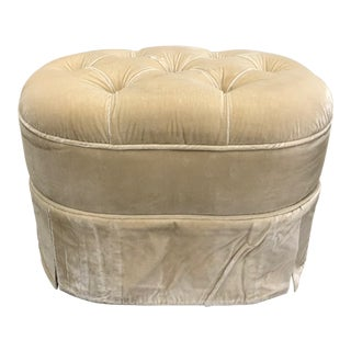 Traditional Upholstered Velvet Stool For Sale
