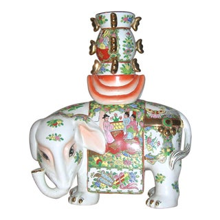 Chinese Famille Rose Gilt Enamel Elephant Candleholder Figurine For Sale