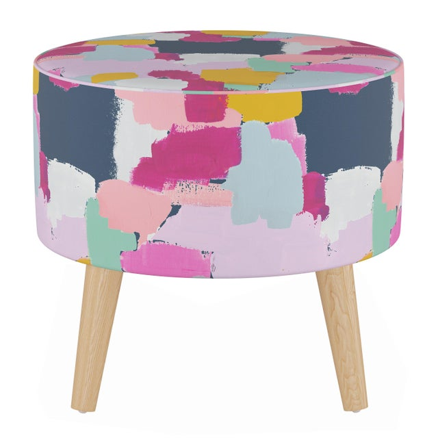Not Yet Made - Made To Order Round Ottoman With Splayed Legs in Joyful Navy Oga For Sale - Image 5 of 5