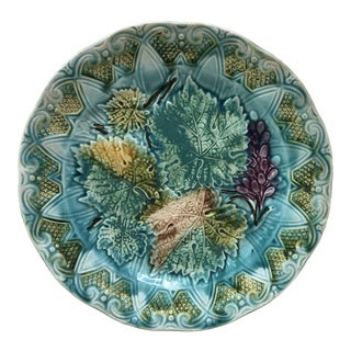 French Majolica Leaves & Grapes Plate Onnaing, Circa 1900 For Sale