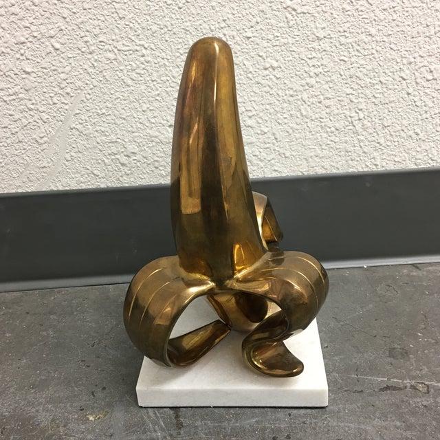 Jonathan Adler Brass Banana Sculpture on a White Marble Base - Image 4 of 7