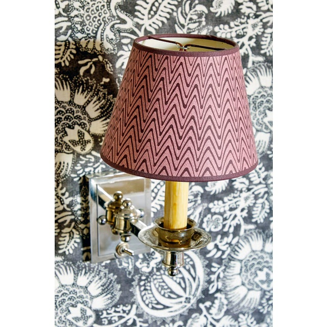 Transitional Rita Konig Exclusive Hand Painted Lampshade in Puce Zig Zag For Sale - Image 3 of 4