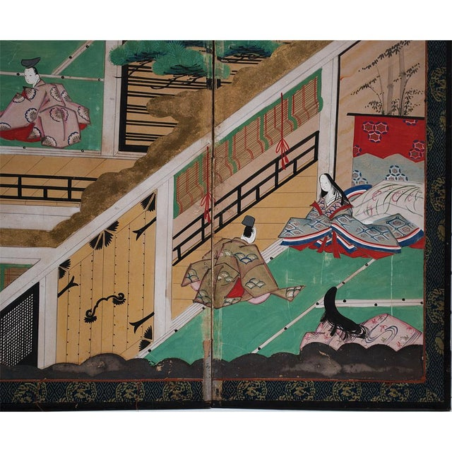 Turquoise 17th C. Japanese the Tale of Genji Byobu Screen For Sale - Image 8 of 13