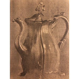 En Grisaille Drawing of a Silver Coffee Pot 1900 For Sale