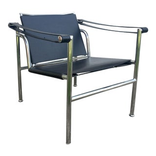 LeCorbusier Lci Black Leather and Chrome Lounge Chair