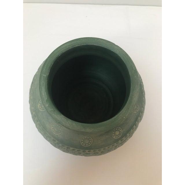 Boho Chic Vintage Green Boho Vase For Sale - Image 3 of 6