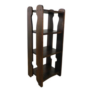 Antique Mission Arts & Crafts Oak Bookshelf Magazine Stand For Sale