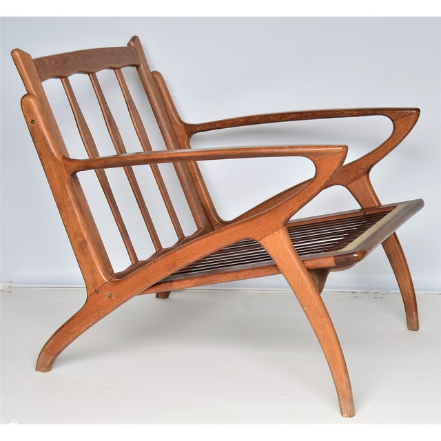 Mid Century Danish Modern Solid Teak Selig Style Lounge Chair --MCM Tropical Coastal Boho Chic Haute Bohemian For Sale In Miami - Image 6 of 12