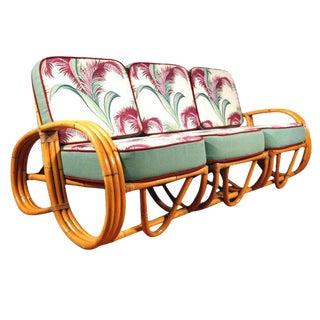 Restored Paul Frankl Style Three-Strand Reverse Pretzel Rattan Sofa For Sale