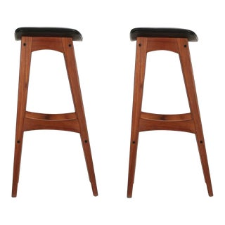 Johannes Andersen Danish Mid Century Teak Bar Stools - a Pair For Sale