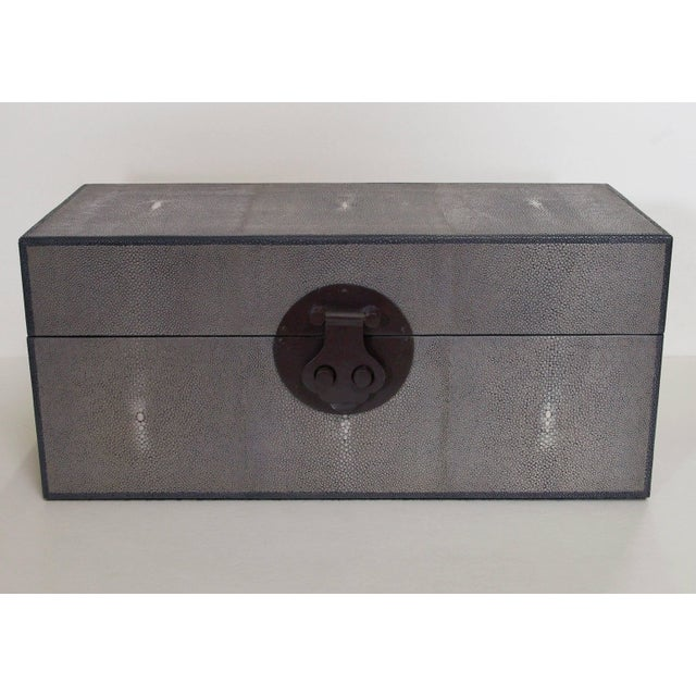 Gray shagreen wood box Depth: 7 inches / Width: 16 inches / Height: 7 inches 2 in stock in Palm Springs currently ON SALE...