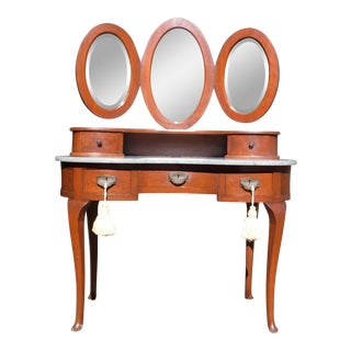 Antique French Regency Louis XVI Kidney Shaped Marble Top Desk Vanity & Mirrors For Sale