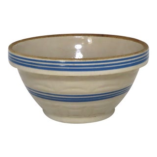 Antique American Blue Decorated Stoneware Kitchen Mixing Bowl For Sale