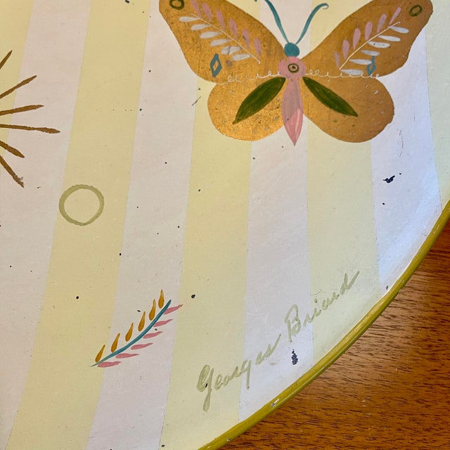 Yellow 1950s Georges Briard Tole Butterflies + Flora Tray, Signed For Sale - Image 8 of 13