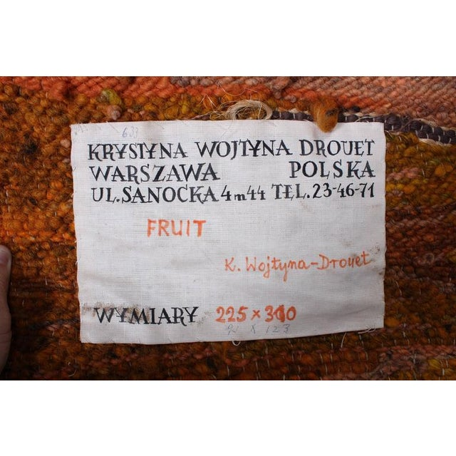 "Large Tapestry by Krystyna Wojtyna-Drouet Titled ""Fruit"" - Image 9 of 10"
