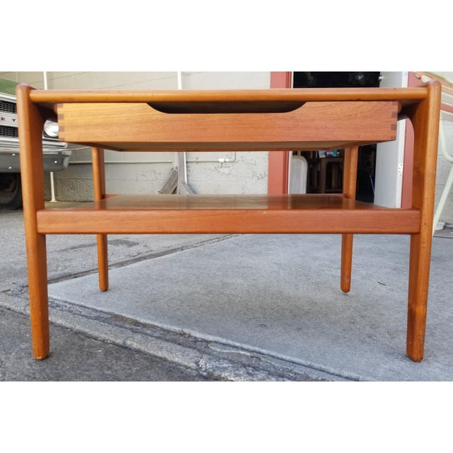 Teak Danish Modern Side Table With Drawer For Sale - Image 11 of 11