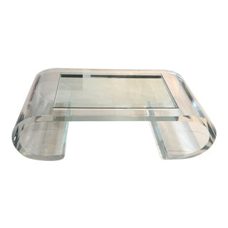 """Scroll"" Lucite Coffee Table With Bull-Nose Edge Glass Inset For Sale"
