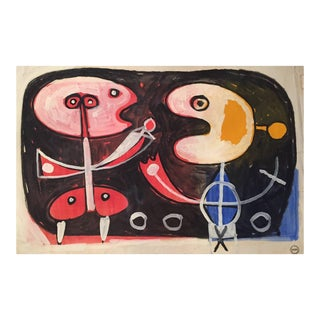 1960s French Albert Chubac Gouache and Oil, Signed