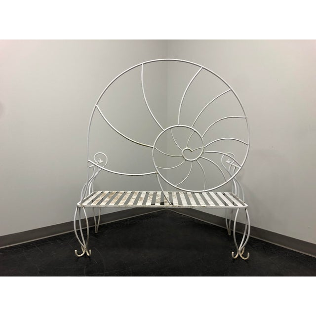 Art Nouveau Nautilus Shell Wrought Iron Outdoor Garden Bench For Sale In Charlotte - Image 6 of 11