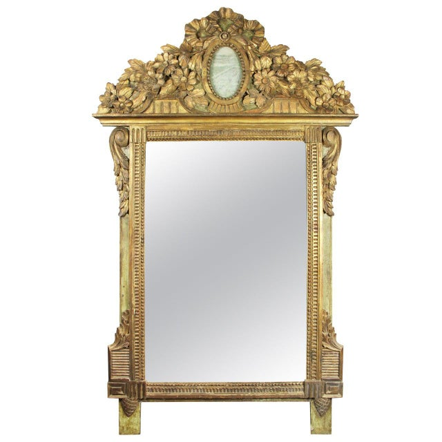 Wood Louis XVI Giltwood and Green Painted Mirror For Sale - Image 7 of 7