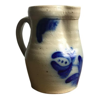 Vintage Beaumont Pottery of York Maine Blue Flow Stoneware Floral Pitcher For Sale