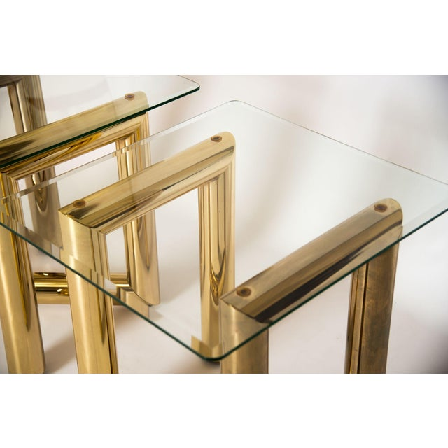 """Brass """"Z"""" Shaped End Tables - A Pair - Image 4 of 7"""
