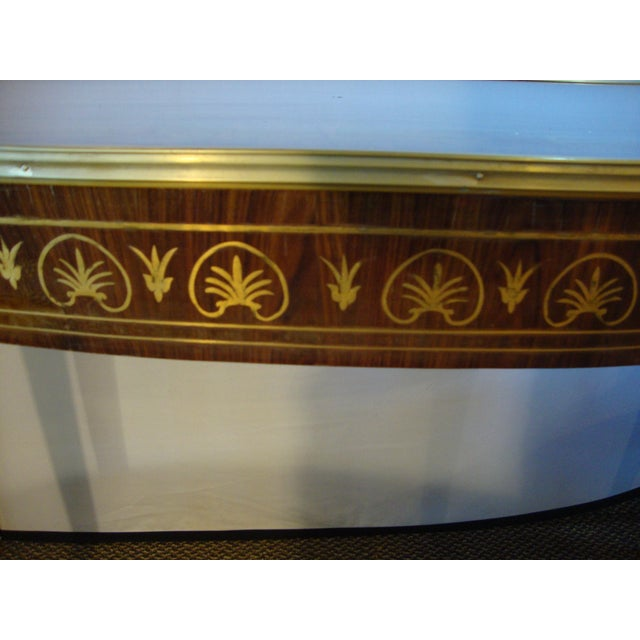 Wood Boulle Inlaid Demi Lune Console Serving Table For Sale - Image 7 of 10
