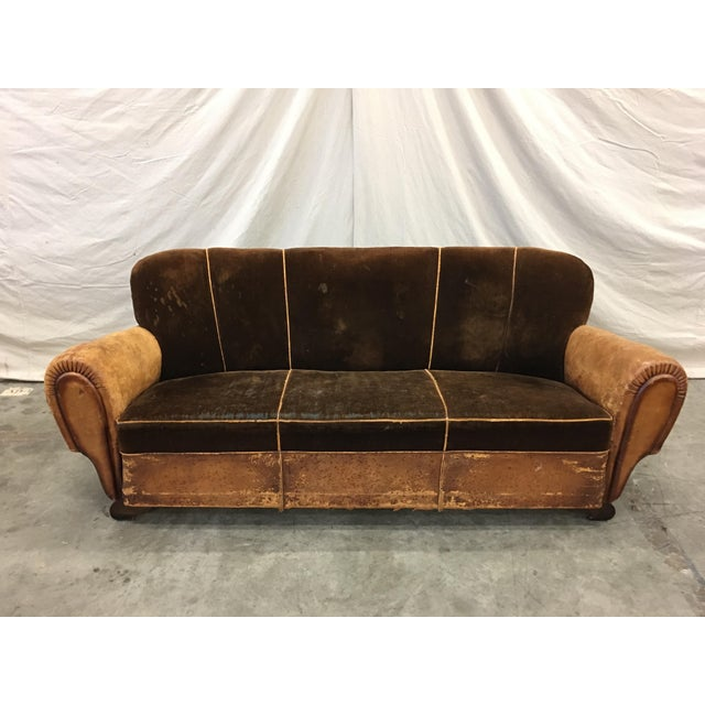 Brown 1930's French Art Deco Leather & Mohair Club Sofa For Sale - Image 8 of 10