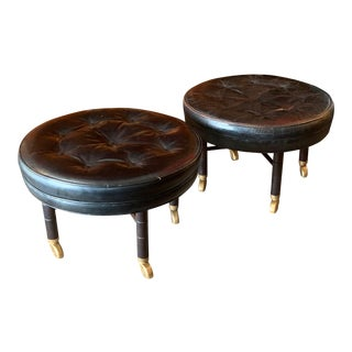1950s Vintage Baker Round Leather Ottomans- A Pair For Sale
