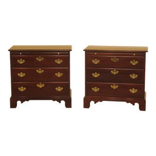 1990s Traditional Statton Solid Cherry Bachelor Chest Nightstands - a Pair For Sale