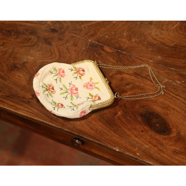 Mid 19th Century 19th Century French Needlepoint Purse With Brass Strap and Lock For Sale - Image 5 of 6