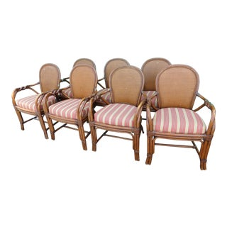 Chippendale Palecek Twisted Rattan Chairs - Set of 7 For Sale