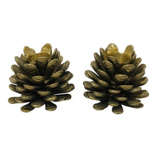 Vintage Brass Pine Cone Candle Holders - a Pair For Sale