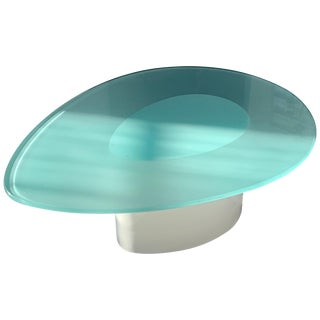 Oval Glass Top Coffee Table For Sale